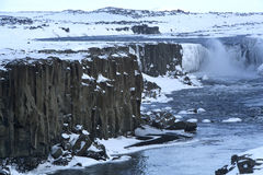 Waterfall Selfoss in Iceland, wintertime Stock Photo