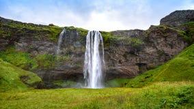 Waterfall Seljalandsfoss in summer, Iceland stock photo