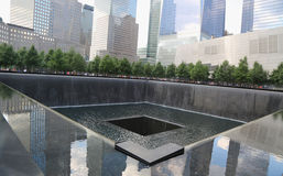 Waterfall in September 11 Memorial Park Royalty Free Stock Images