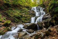 Waterfall Shypit, cascade in Pylypets in the autumn forest. Carp. Athian Mountains, Zakarpatska oblast, Ukraine Royalty Free Stock Image