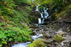 Waterfall Shypit in Pylypet, Zakarpatska oblast, Ukraine. Stock Photos