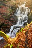 Waterfall Shypot in autumn. View from above royalty free stock photography