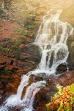 Waterfall Shypot in gorgeous evening. Light. beautiful autumn scenery of Carpathian nature wonders stock images