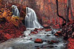 Waterfall. Silver Stream Waterfall (Autumn in the Grand Canyon Of Crimea Royalty Free Stock Images
