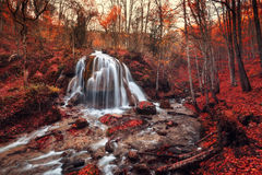 Waterfall. Silver Stream Waterfall (Autumn in the Grand Canyon Of Crimea Royalty Free Stock Photography