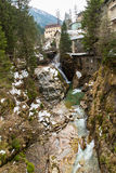 Waterfall in Ski resort town Bad Gastein, Austria Royalty Free Stock Photos
