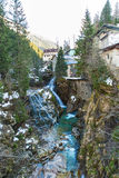 Waterfall in Ski resort town Bad Gastein, Austria Royalty Free Stock Images