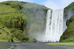 Waterfall Skogafoss, Iceland. Famous waterfall Skogafoss in Iceland Royalty Free Stock Images
