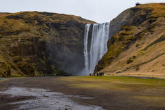 Waterfall `Skogafoss` in South Iceland. Skogafoss is a waterfall situated on the Skoga River in the south of Iceland at the cliffs of the former coastline Stock Images