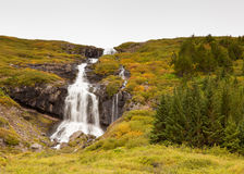 Waterfall in Skutulsfjordur Stock Photo