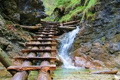 The Waterfall in Slovak Paradise Stock Image