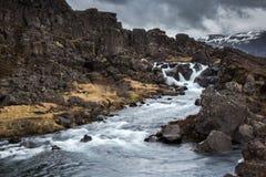 The waterfall. A small waterfall in Þingvellir National Park, Iceland Stock Photos