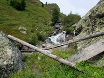 The Waterfall. The small waterfall on the mountain royalty free stock photos