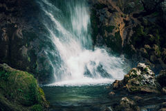 Waterfall  on small mountain river Royalty Free Stock Image