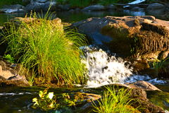 WATERFALL. SMALL WATERFALL ON THE RIVER Stock Photography