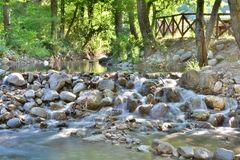 Waterfall. A small and rocky waterfall Royalty Free Stock Photos