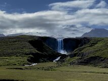 This waterfall is at Snaefellsnes peninsula.
