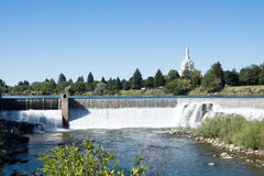 Waterfall on the Snake River in central city  Idaho Falls Stock Photography
