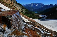 Waterfall with Snow Mountains and Lake Stock Photography