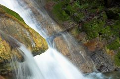 Waterfall and some stones. Lazarevskoe, Sochi, Russia royalty free stock photography