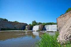 Waterfall somewhere in southern Russia. Steppes region stock photo