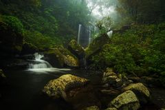 Waterfall in the South of Laos. stock image