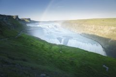 Waterfall in southern Iceland. Gulfoss waterfall located in the Golden Circle of southern Iceland during the month of August stock images