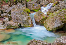 Waterfall in the spring forest Stock Photos