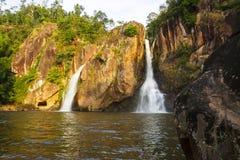 Waterfall and stone beautiful with sunshine Royalty Free Stock Image
