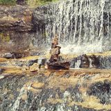 Waterfall. Stones serene stone tower Stock Photos
