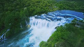 Waterfall Strbacki buk aerial shot stock video
