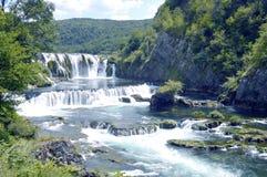 Waterfall,Strbacki Buk. Travel to Europe under summer,Waterfall on the river Una near Bihac in the Bosnia and Herzegovina stock photo