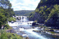 Waterfall,Strbacki Buk. Travel to Europe under summer,Waterfall on the river Una near Bihac in the Bosnia and Herzegovina Royalty Free Stock Photo