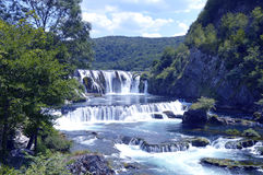 Waterfall,Strbacki Buk. Travel to Europe under summer,Waterfall on the river Una near Bihac in the Bosnia and Herzegovina Stock Photos