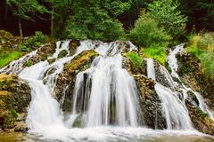 Waterfall stream in forest. Motion blurred waterfall stream in a green forest Stock Image