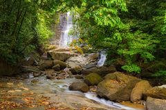 Waterfall and stream in the rainforest of Borneo Royalty Free Stock Image