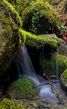 Waterfall of a stream in the Tuscan mountains royalty free stock images