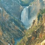 Waterfall. Stunning views of natures beauty. A waterfall in Americas national park system, yellowstone Royalty Free Stock Image