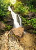 Waterfall in summer canyon Stock Photos