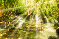 Waterfall with sunlight Stock Image
