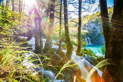 Waterfall with sunlight rays in Plitvice Stock Images