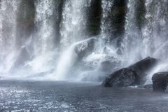 Waterfall on a sunny day. Beautiful waterfall on a sunny day stock image