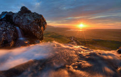 Waterfall at Sunrise. Waterfall taken from a low angle at sunrise Royalty Free Stock Photos