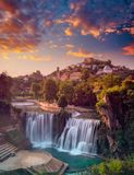 Waterfall sunset at sumer time Royalty Free Stock Photo