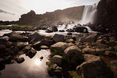 Waterfall at sunset with Royalty Free Stock Image