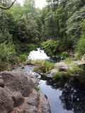 Waterfall surrounded by trees, rocks and a lake royalty free stock images