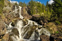 Waterfall between Sweden and Norway Stock Images
