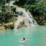 Waterfall swimming stock image