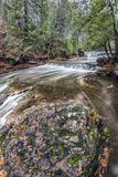 Waterfall Swirls. Beautiful and well hidden Cannings Falls in fall Stock Photo