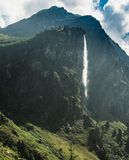 Waterfall in the Swiss Alps stock photography